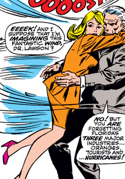 Carol Danvers (Marvel Comics) (Captain Marvel ally) pushed by a gust of wind