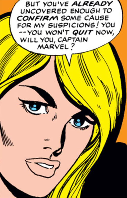 Carol Danvers (Marvel Comics) (Captain Marvel ally) face closeup