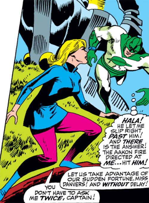 Carol Danvers (Marvel Comics) (Captain Marvel ally) in blue and pink