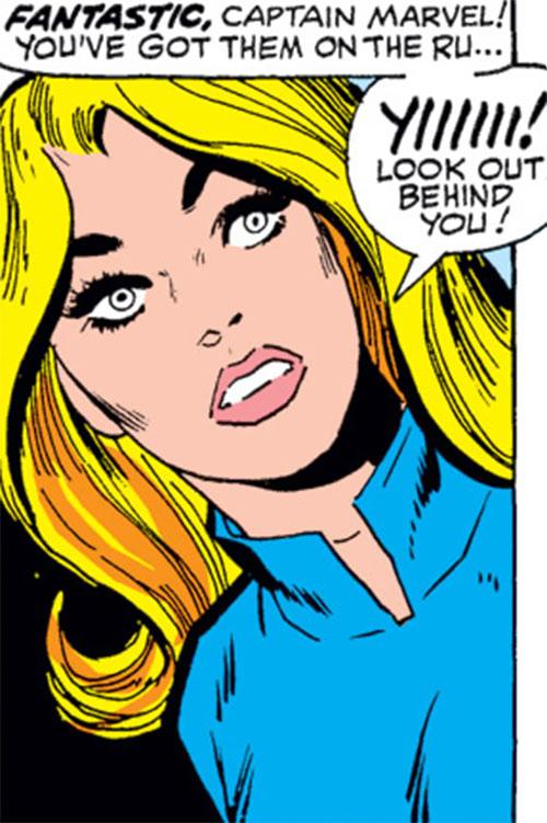 Carol Danvers (Marvel Comics) (Captain Marvel ally) face closeup with blue sweater