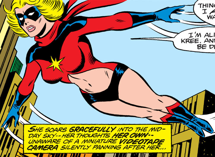 Ms. Marvel (Carol Danvers) flying over Manhattan