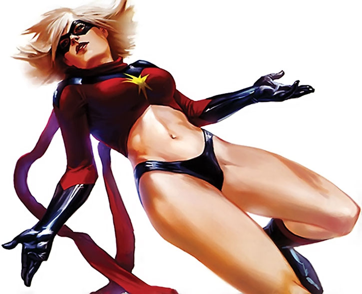 Ms. Marvel (Carol Danvers) flying on a white background, painted art
