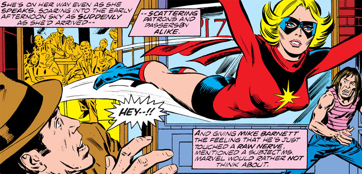 Ms. Marvel (Carol Danvers) flies out of a New York City diner