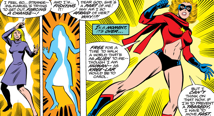 Ms. Marvel (Carol Danvers) involuntarily transforming