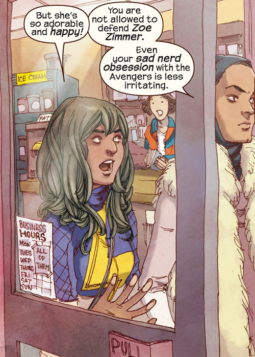 Ms. Marvel comics (Kamala Khan) with Bruno and Nakia