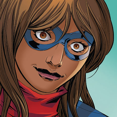 Ms. Marvel comics (Kamala Khan) masked face closeup