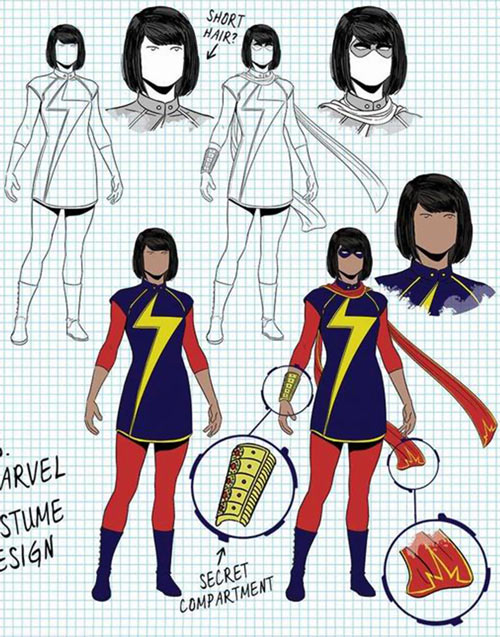 Ms. Marvel comics (Kamala Khan) concept model sheet