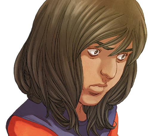 Ms. Marvel comics (Kamala Khan) face closeup pensive