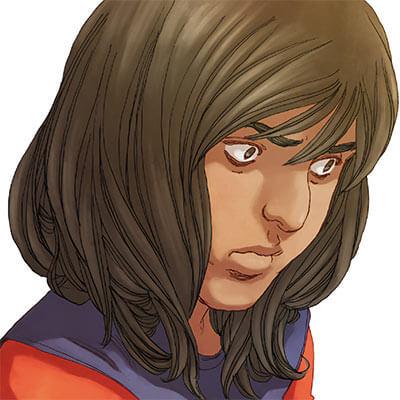 Ms. Marvel comics (Kamala Khan) face closeup pensive