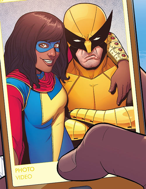 Ms. Marvel comics (Kamala Khan) selfie with Wolverine