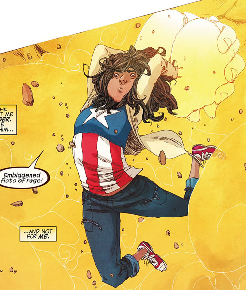 Ms. Marvel comics (Kamala Khan) haymaker with giant fists