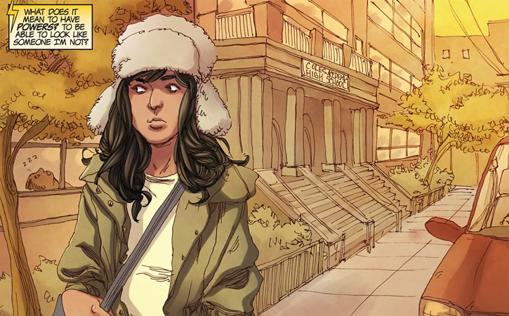 Ms. Marvel comics (Kamala Khan) near her high school ushanka