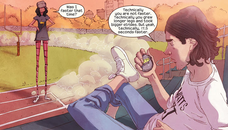 Ms. Marvel comics (Kamala Khan) giant legs training
