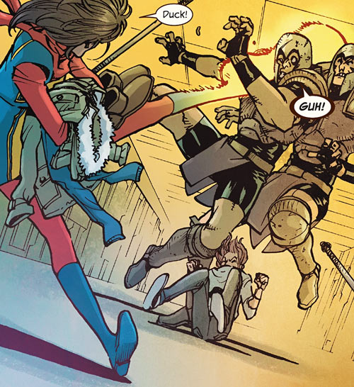 Ms. Marvel comics (Kamala Khan) giant foot kick