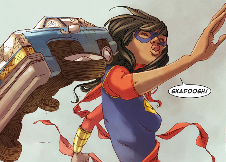Ms. Marvel comics (Kamala Khan) throws a car wreck skadoosh