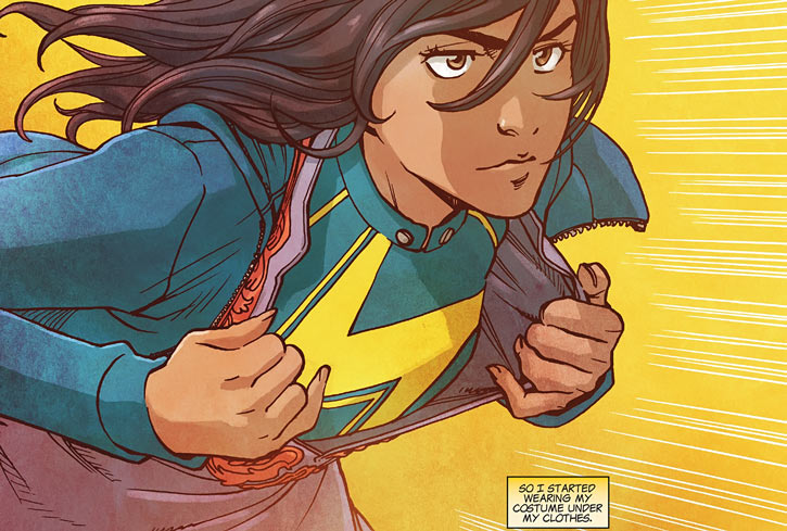 Ms. Marvel comics (Kamala Khan) uniform under clothes
