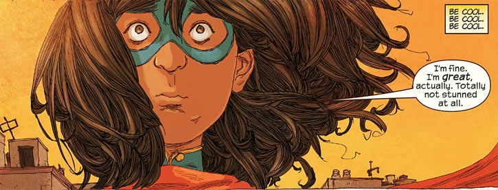 Ms. Marvel comics (Kamala Khan) stunned face closeup