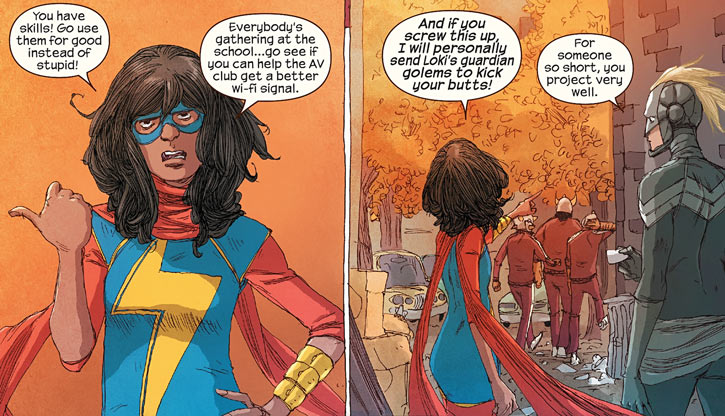 Ms. Marvel comics (Kamala Khan) berating robbers