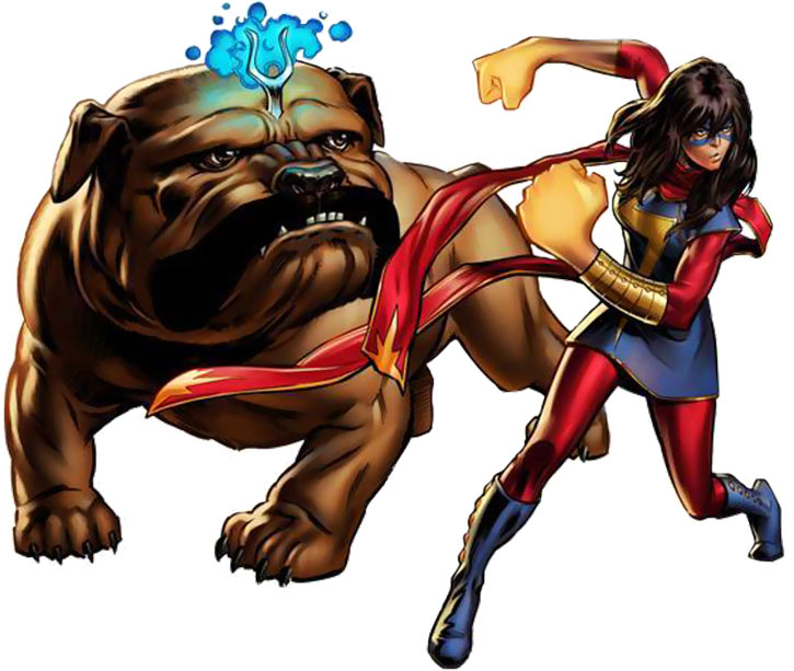 Ms. Marvel comics (Kamala Khan) and Lockjaw ready for action