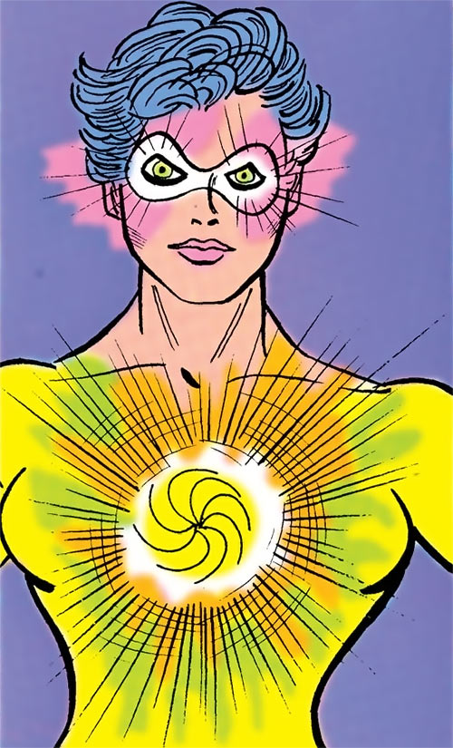 Ms. Mesmer of the Gang (Supergirl enemy) (DC Comics) hypnosis closeup