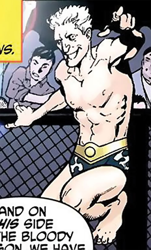 Muck the Unknownable (Wonder Woman enemy) (DC Comics) leaps over a chain fence