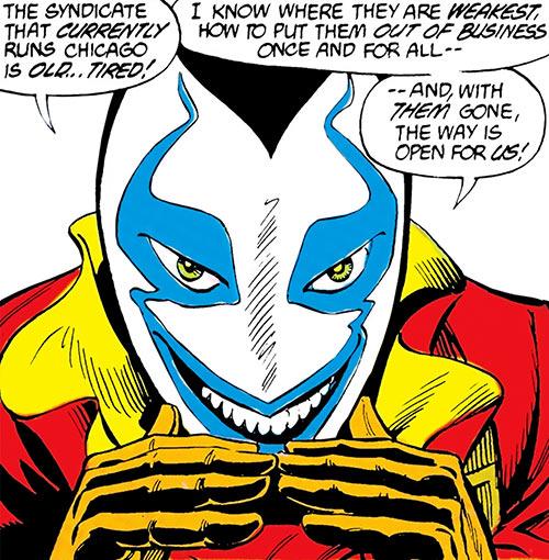 Muse (Blue Beetle enemy) (DC Comics) mask closeup