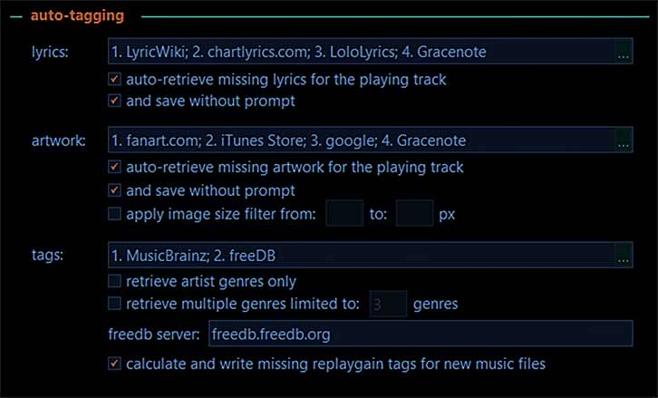 Example of MusicBee tagging management