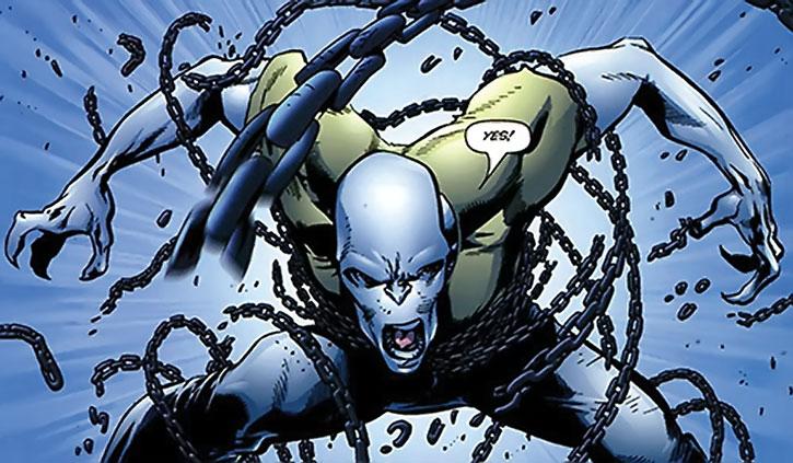 Myriad (Spencer Bridges) breaking free of his chains