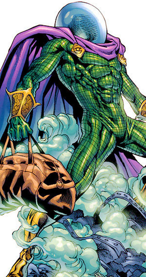 Mysterio (Spider-Man enemy) (Marvel Comics) with a sports bag and rubble