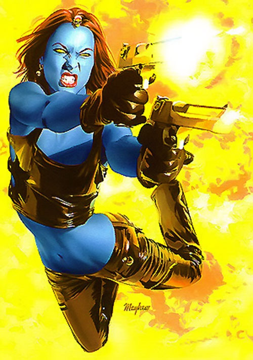 Mystique (Marvel Comics) dual-wielding Desert Eagles in an explosion