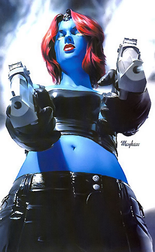 Mystique (Marvel Comics) low angle shot with two Desert Eagles