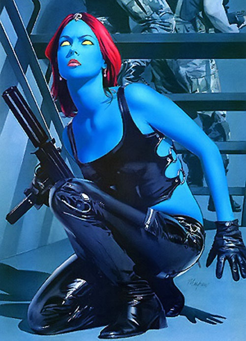 Mystique (Marvel Comics) in black leather with a machine pistol