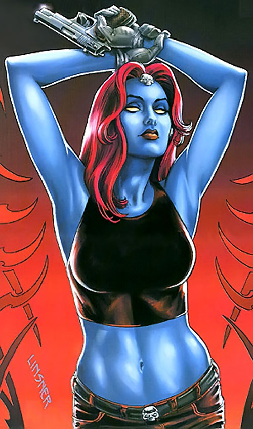 Mystique (Marvel Comics) posing in a tank top