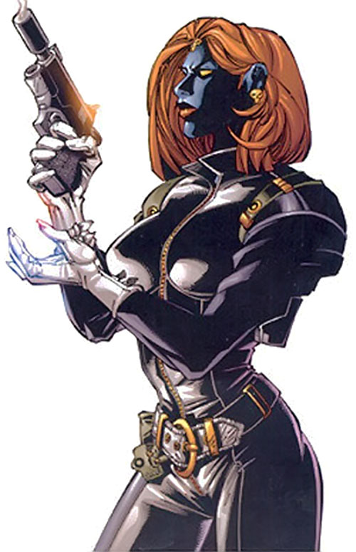 Mystique (Marvel Comics) loading a pistol