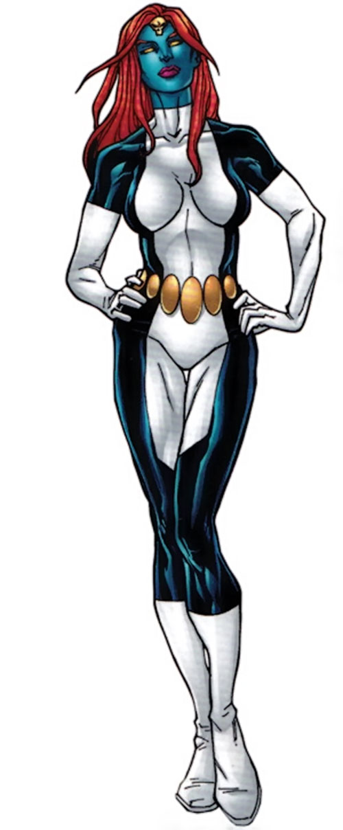 Mystique (Marvel Comics) in a jumpsuit patterned after the classic costume