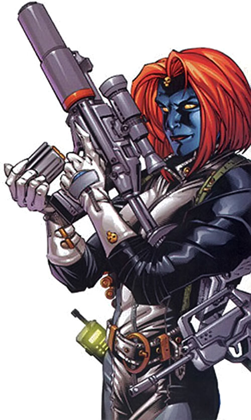Mystique (Marvel Comics) with multiple guns