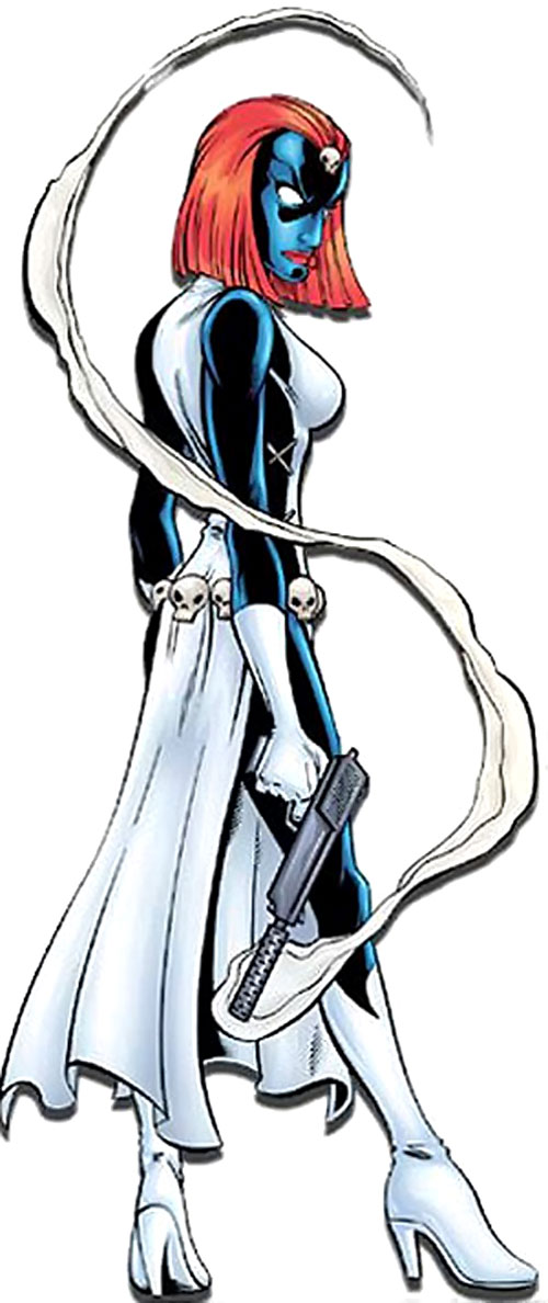 Mystique (Marvel Comics) in the classic costume with a smoking gun