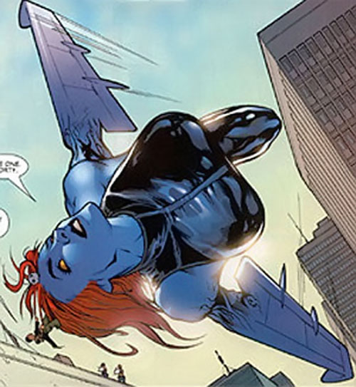 Mystique (Marvel Comics) flying with wing arms