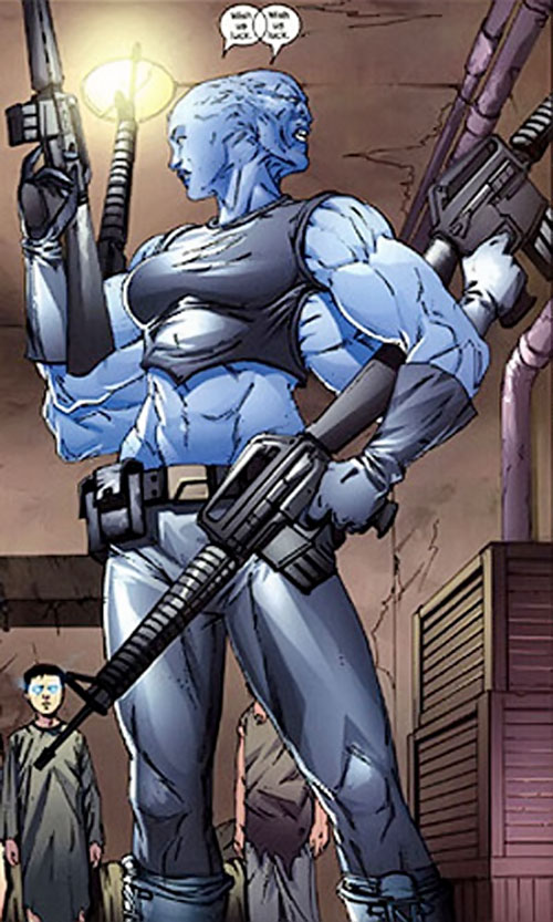 Mystique (Marvel Comics) in a two-faced, four-armed muscular form