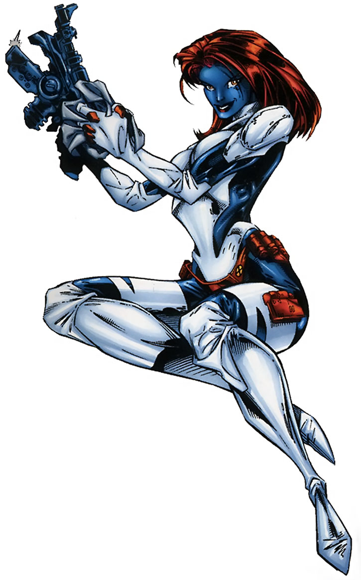 Mystique with a gun over a white background