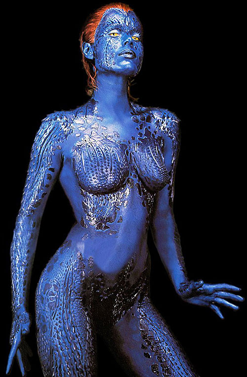 Mystique (Rebecca Romijn Stamos in X-Men movies) posing on a black background