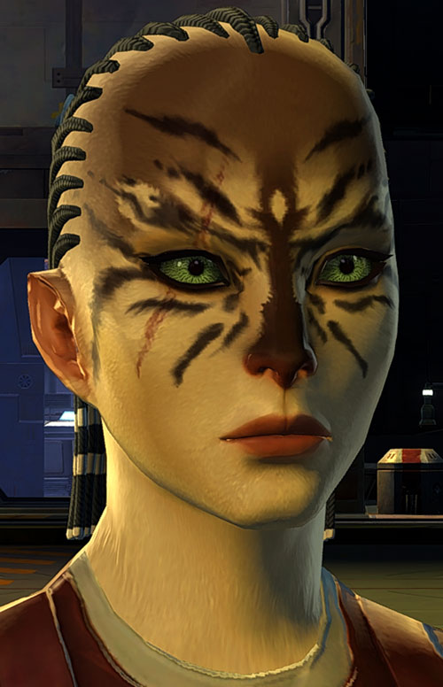 SWTOR - Star Wars the Old Republic- Cathar Smuggler face closeup green eyes cornrows