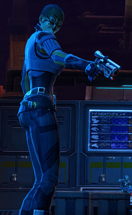 SWTOR - Star Wars the Old Republic- Smuggler pointing a blaster pistol
