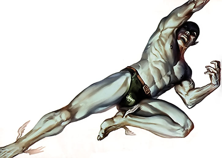 Namor swimming on a white background, painted art