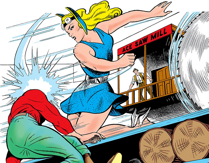 The Golden Age Namora battling thugs at a sawmill