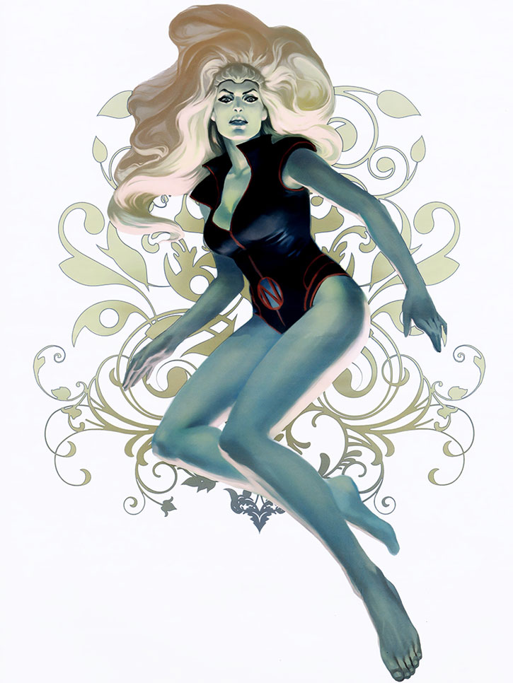 Namora lit in blue over a white background