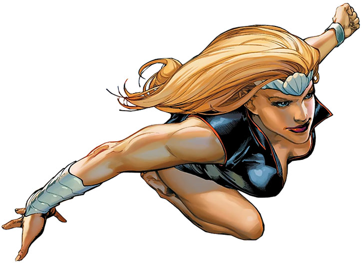 Namora flying over a white background