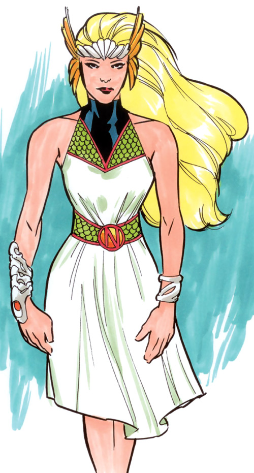 Namora of the Agents of Atlas (Marvel Comics) in her white burial dress