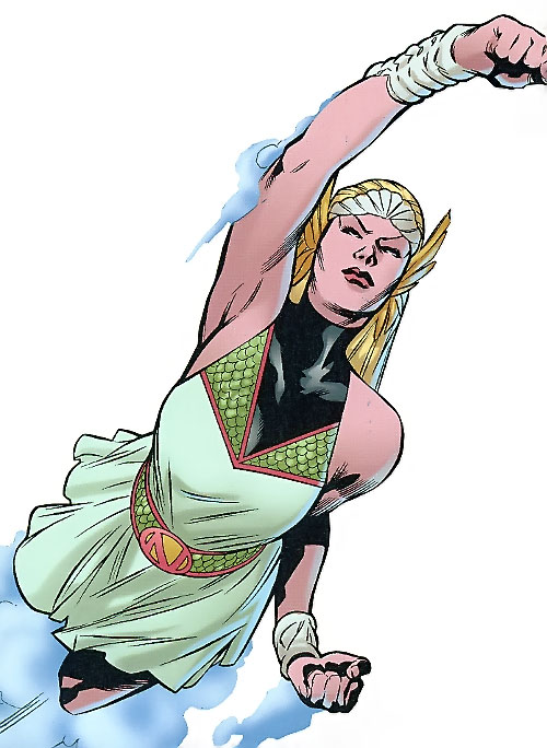 Namora of the Agents of Atlas (Marvel Comics) swimming in her funeral dress