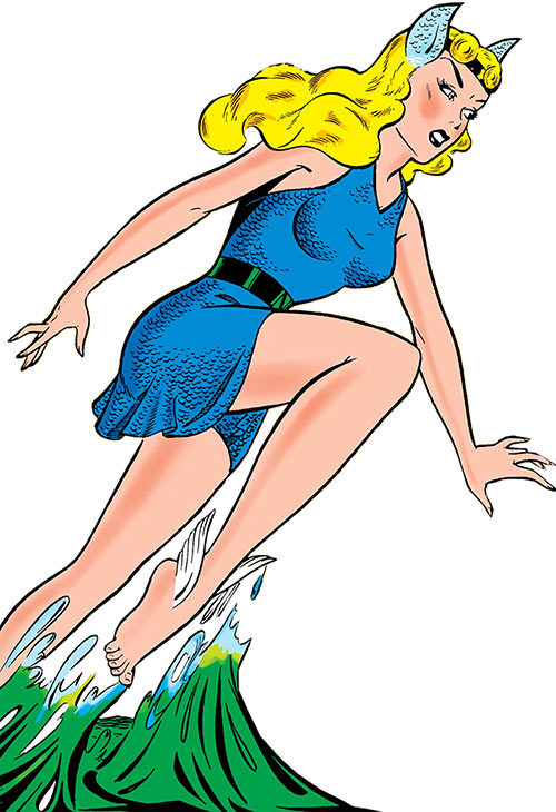 Namora (Golden Age Marvel Timely Comics) leaping from the sea